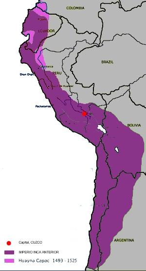 Mapa de las conquistas de Huayna Cápac.