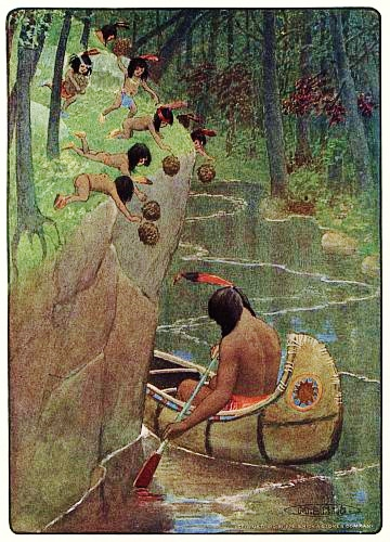 "the song of hiawatha layers of learning ""hurled the pine cones down upon him"" this is a line from the poem and an illustration that was included in a 1910 adaptation of the poem for children"