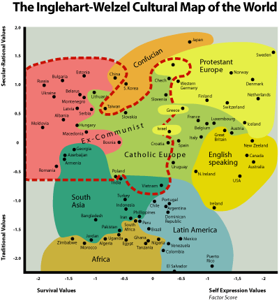 Inglehart-Weltzel cultural map of countries. Inglehart-Values-Map-Small.png