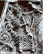 The book-cover of St. Aodh Óg, Ireland, c.1000 CE. The earliest unambiguous depiction of an Irish harp