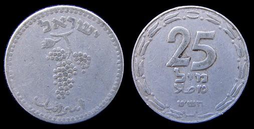 File:Israel first coins 1948 25 mils.jpg