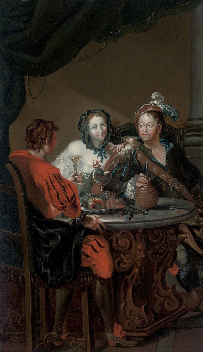 Johann Georg Platzer (zugeschr.) - Eine elegante Gesellschaft zu Tische.jpg