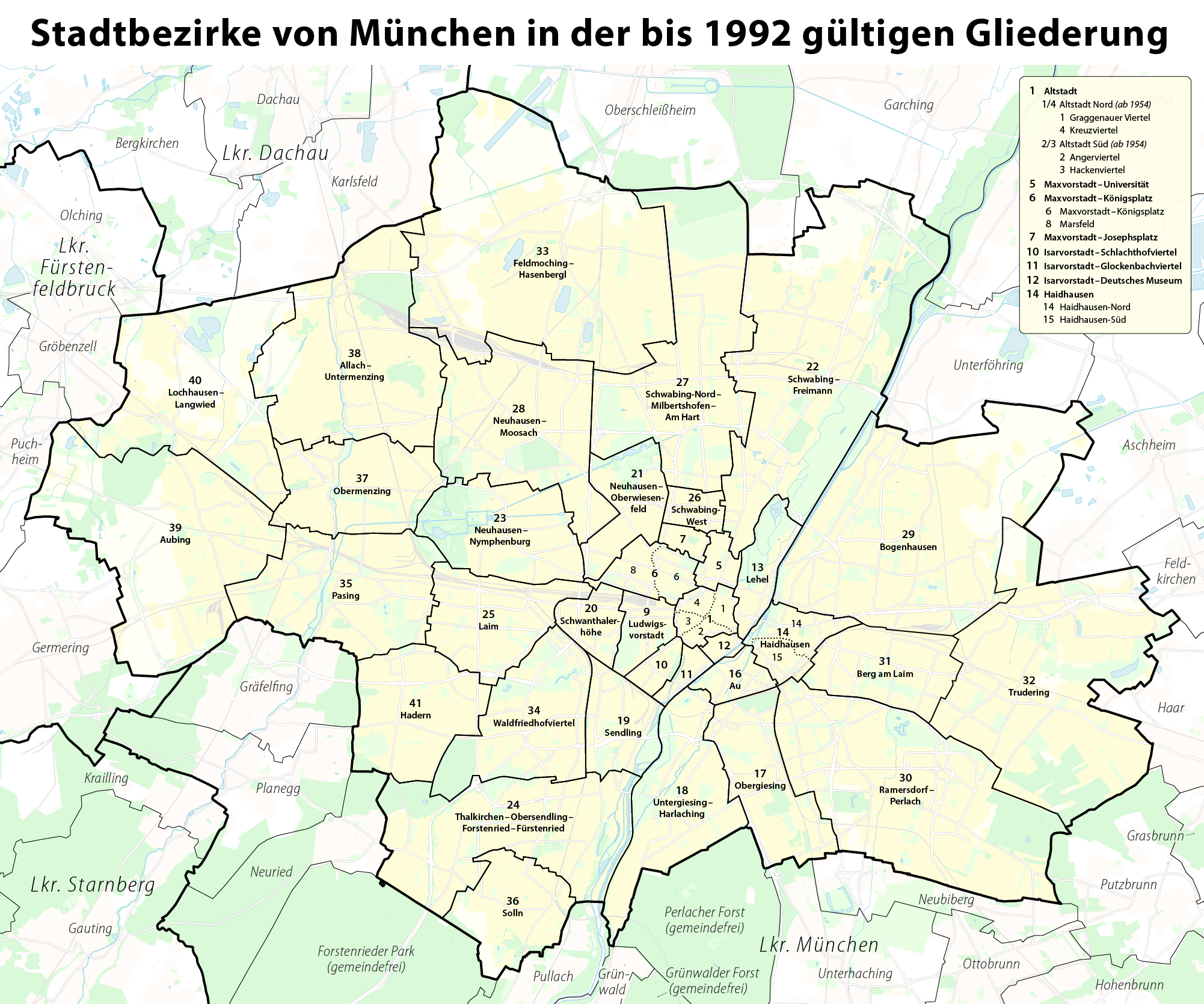 file karte der stadtbezirke in m nchen in der bis 1992 g ltigen. Black Bedroom Furniture Sets. Home Design Ideas