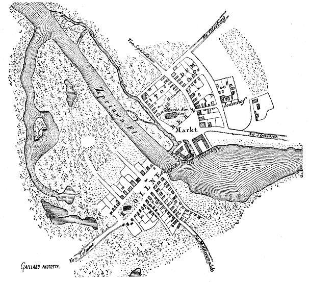Von Karl Friedrich von Klöden rekonstruierter Plan von Berlin und Cölln zur Zeit der Gründung um 1230
