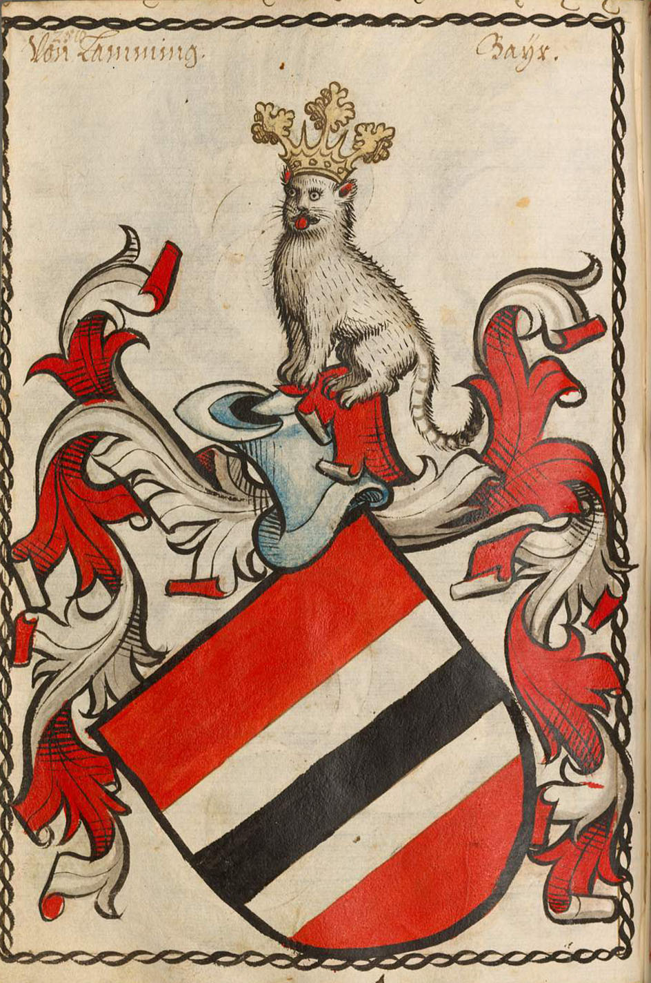Schleibler's book of arms, older part of the arms of the Laiming family.