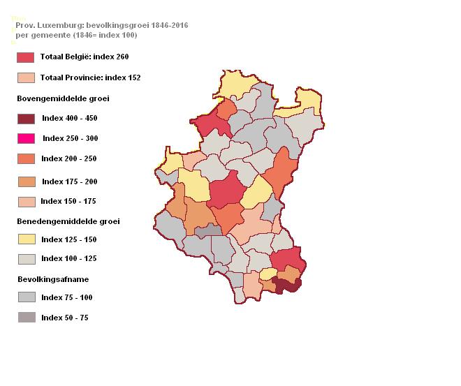 Evolutie van de bevolking per gemeente prov. Luxemburg periode 1846 tot 2016