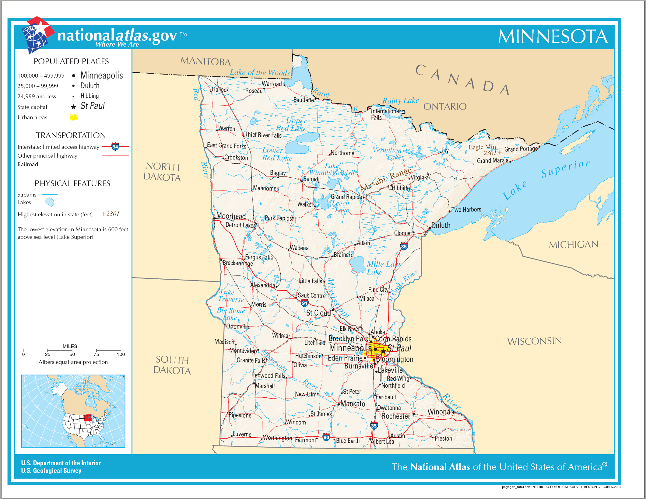 Minnesota State Maps USA Maps Of Minnesota MN Minnesota Lakes Map - Minnesota map usa