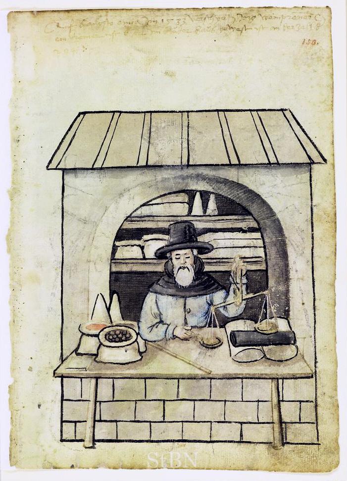 Zollstock und Waage als Werkzeuge des Krämers. Nürnberg, Stadtbibliothek Amb. 317.2°, fol. 150r.