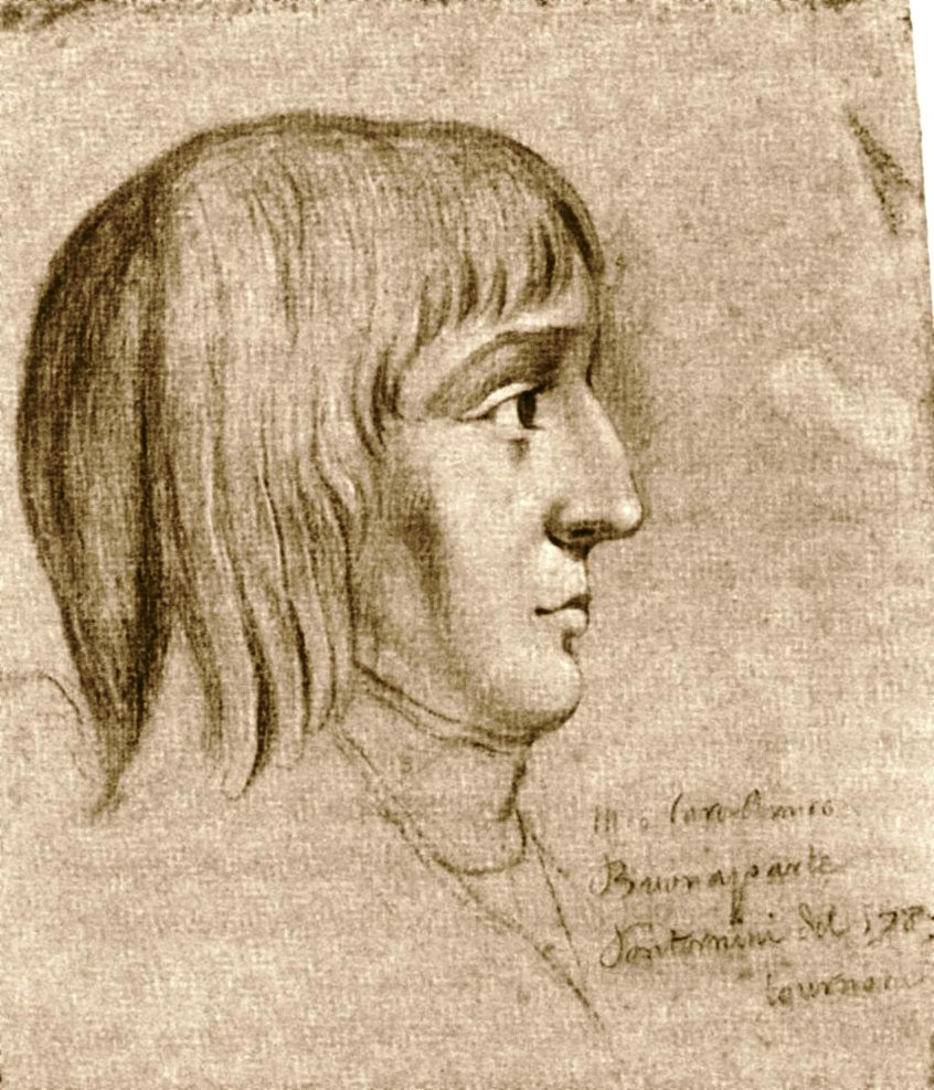 Napoleon Bonaparte (1769-1821) at the age of 16 years (pencil with white on paper), counterfeit.