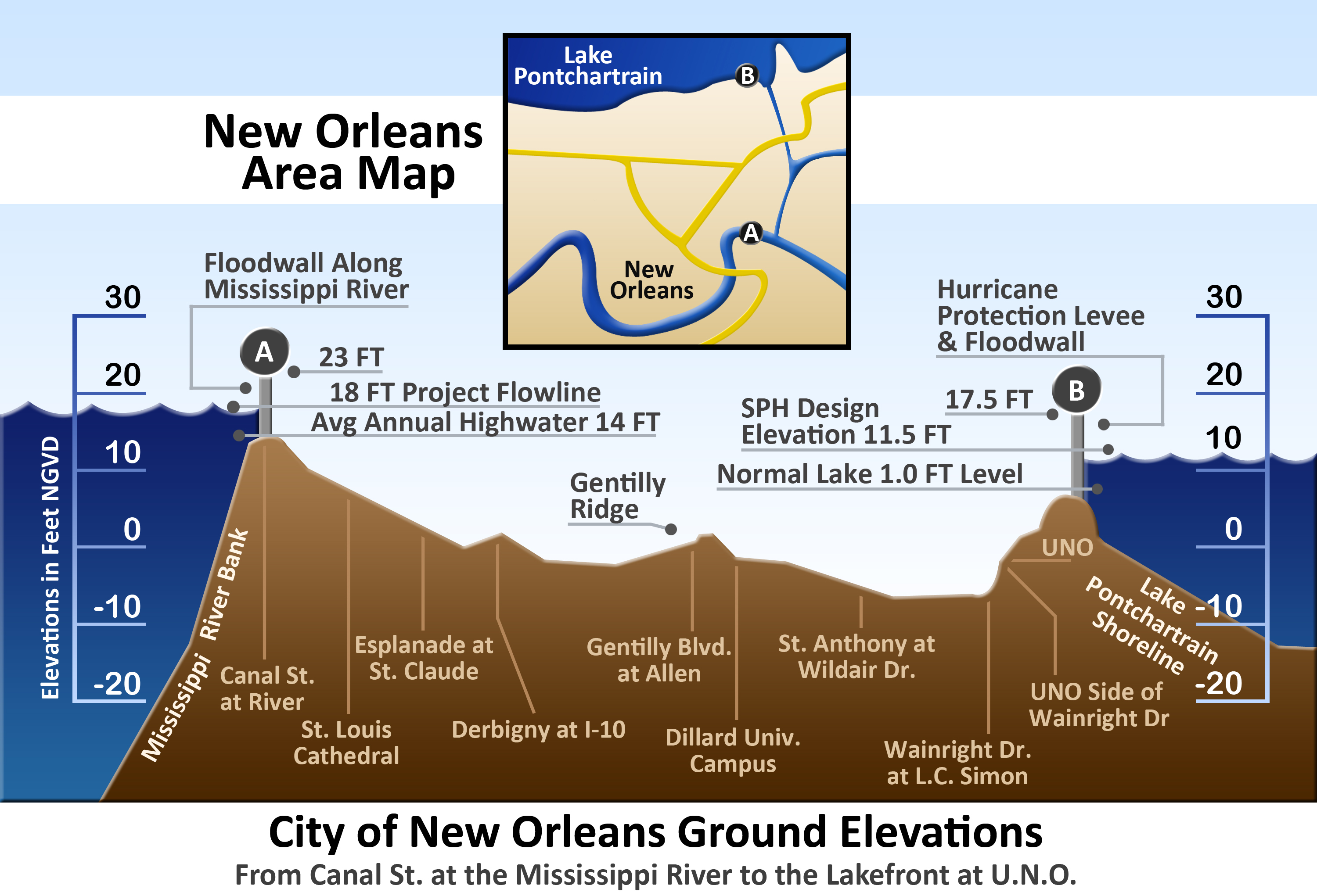 New Orleans French Quarter Tourist Map Maps Low Elevation Coastal - Usa map states new orleans