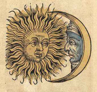 Sun and Moon with faces (1493 woodcut) Nuremberg chronicles f 76r 3.png