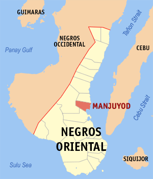 Map of Negros Oriental showing the location of Manjuyod