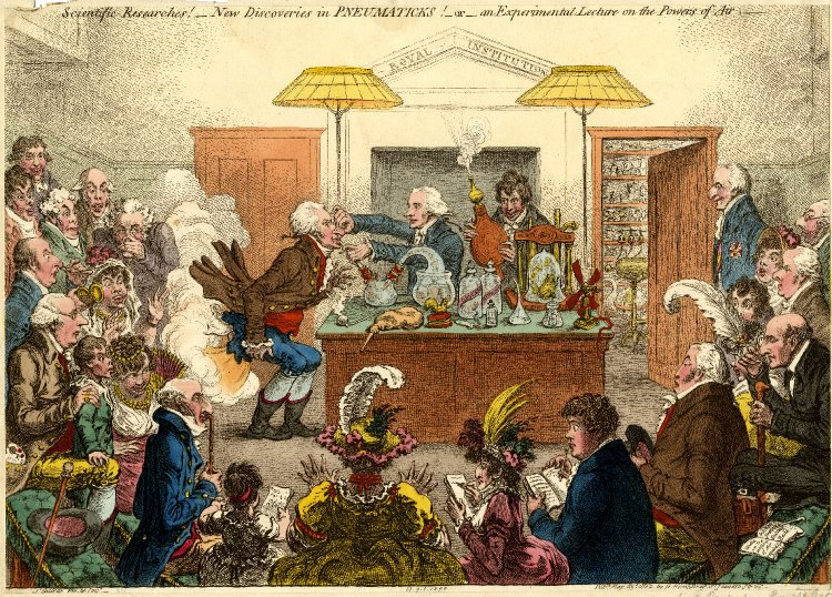 """New Discoveries in Pneumatics"" - Sir Humphry Davy lectures the Royal Institution"
