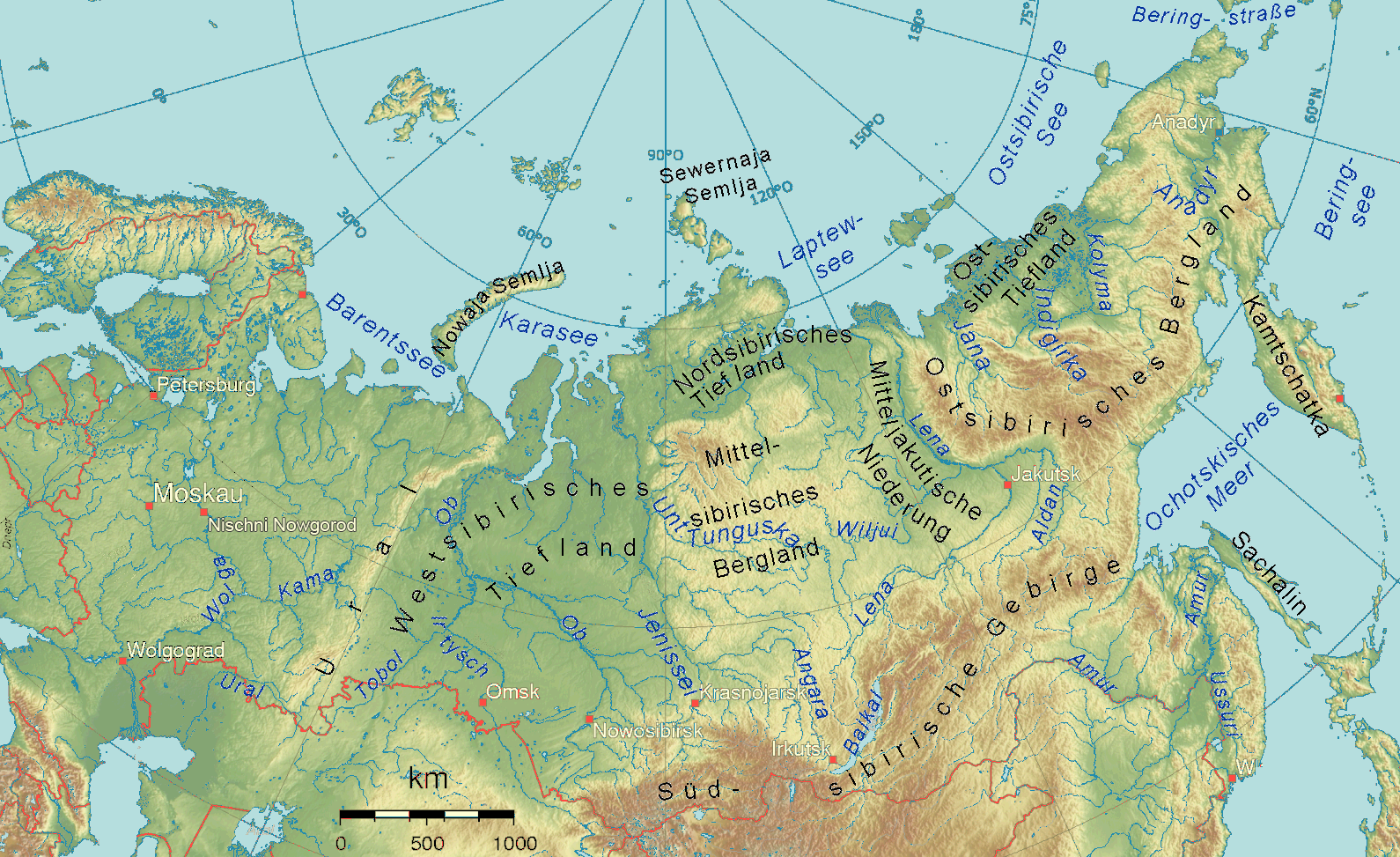 Uralgebirge Karte.Westsibirisches Tiefland Wikipedia