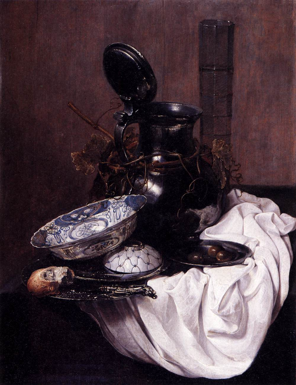 A Still Life With A Pewter Jug And An Overturned Tazza, A Porcelain Bowl, Wine Glass