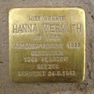 Stolperstein Röderbergweg 41 Hanna Wermuth