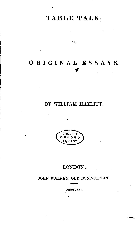 Table talk original essays william hazlitt
