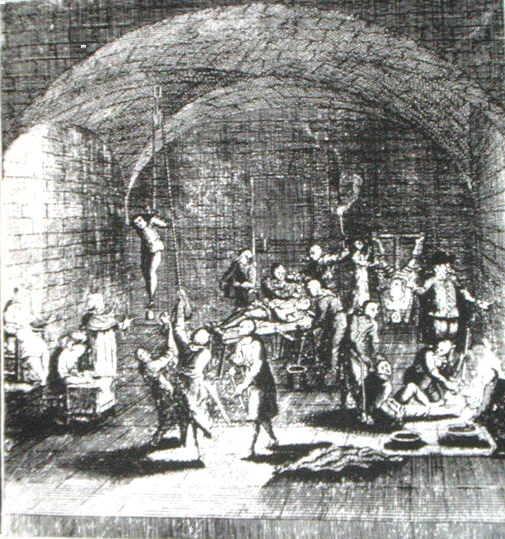 Torture Chamber of the Inquisition. From 'A Complete History of the Inquisition', Westminster, London 1736. Image and caption courtesy Wikimedia Commons.