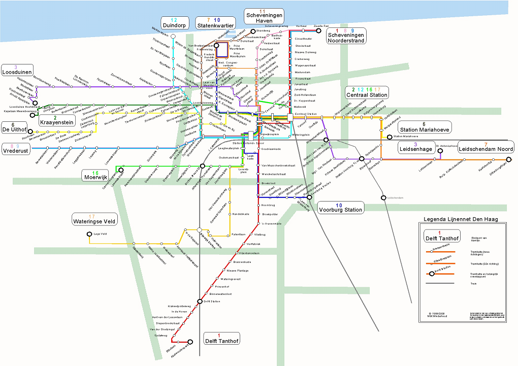 Tram map of The Hague. Download print and take it with you to your trip