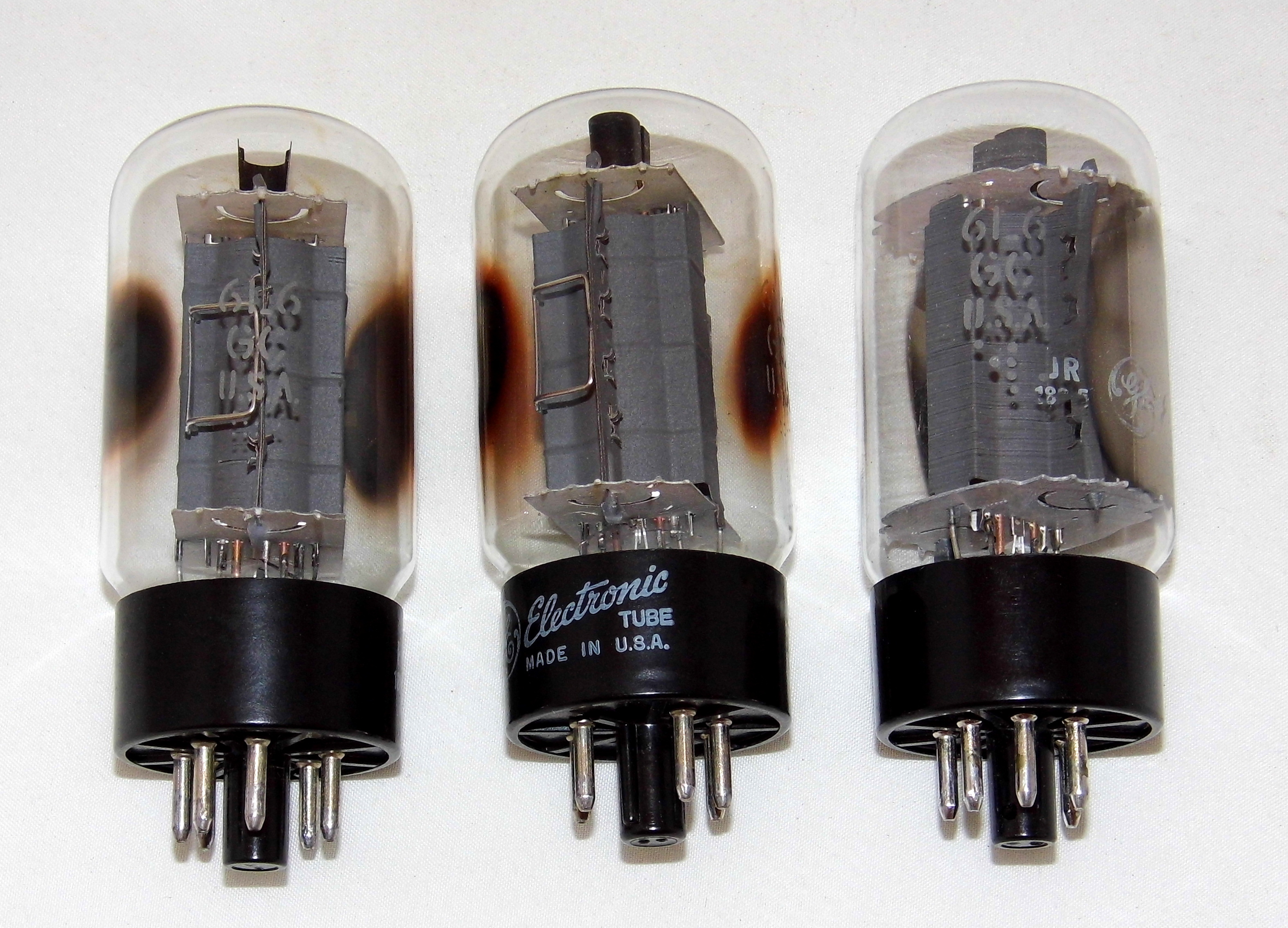 Filetrio Of Vintage General Electric Type 6l6gc Vacuum Tubes Made Tube Diodes In Usa