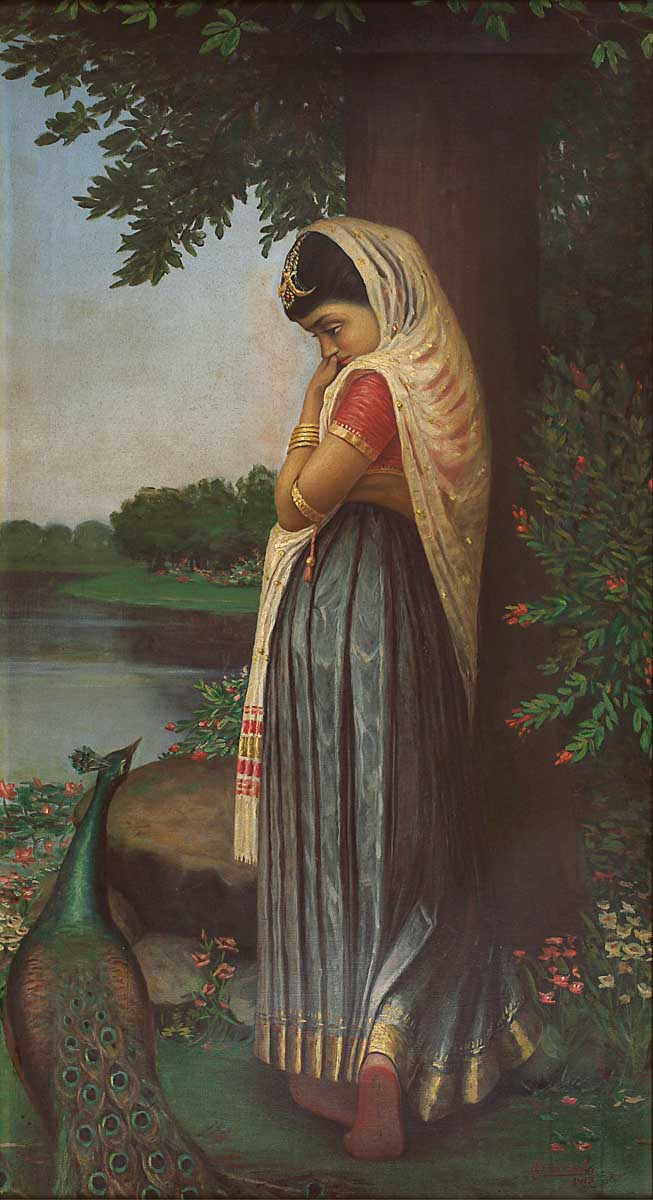 A woman with a veil, leaning against a tree, looking forlorn. A peacock at her feet looks back up at her. Untitled (Disappointed) by Jogesh Chandra Seal.