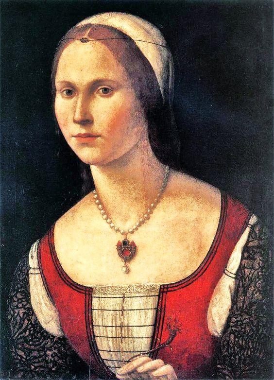 Middeleeuws portret toont jonge vrouw met goud en diamanten - BAUNAT