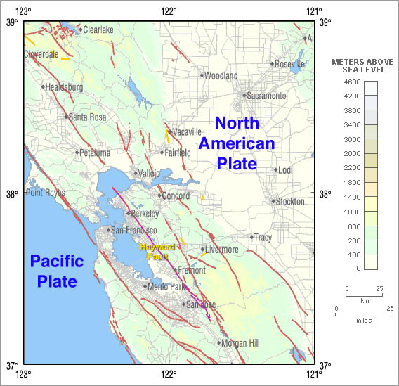 Hayward Fault Zone Wikipedia - San andreas fault map with cities