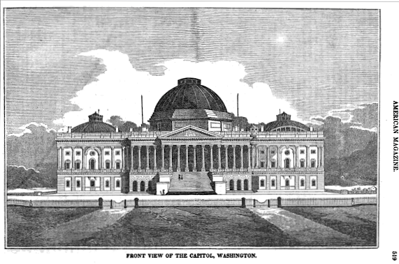 United States Capitol, Washington, D.C., rebuilt 18151830, as it appeared  during the early 19th century (prior to expansions and reconstruction of  the ...