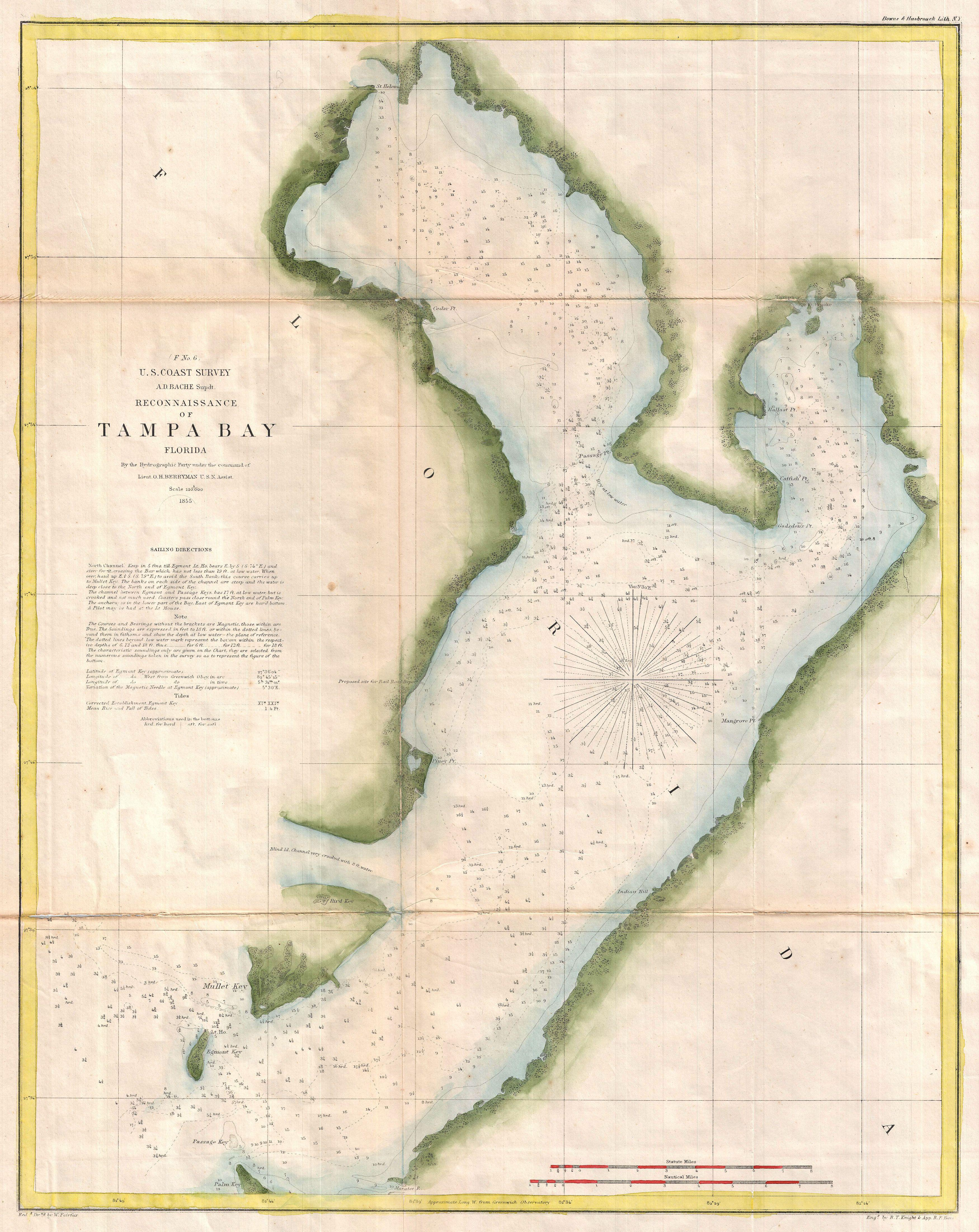 File 1855 U S Coast Survey Chart Or Map Of Tampa Bay Florida Geographicus