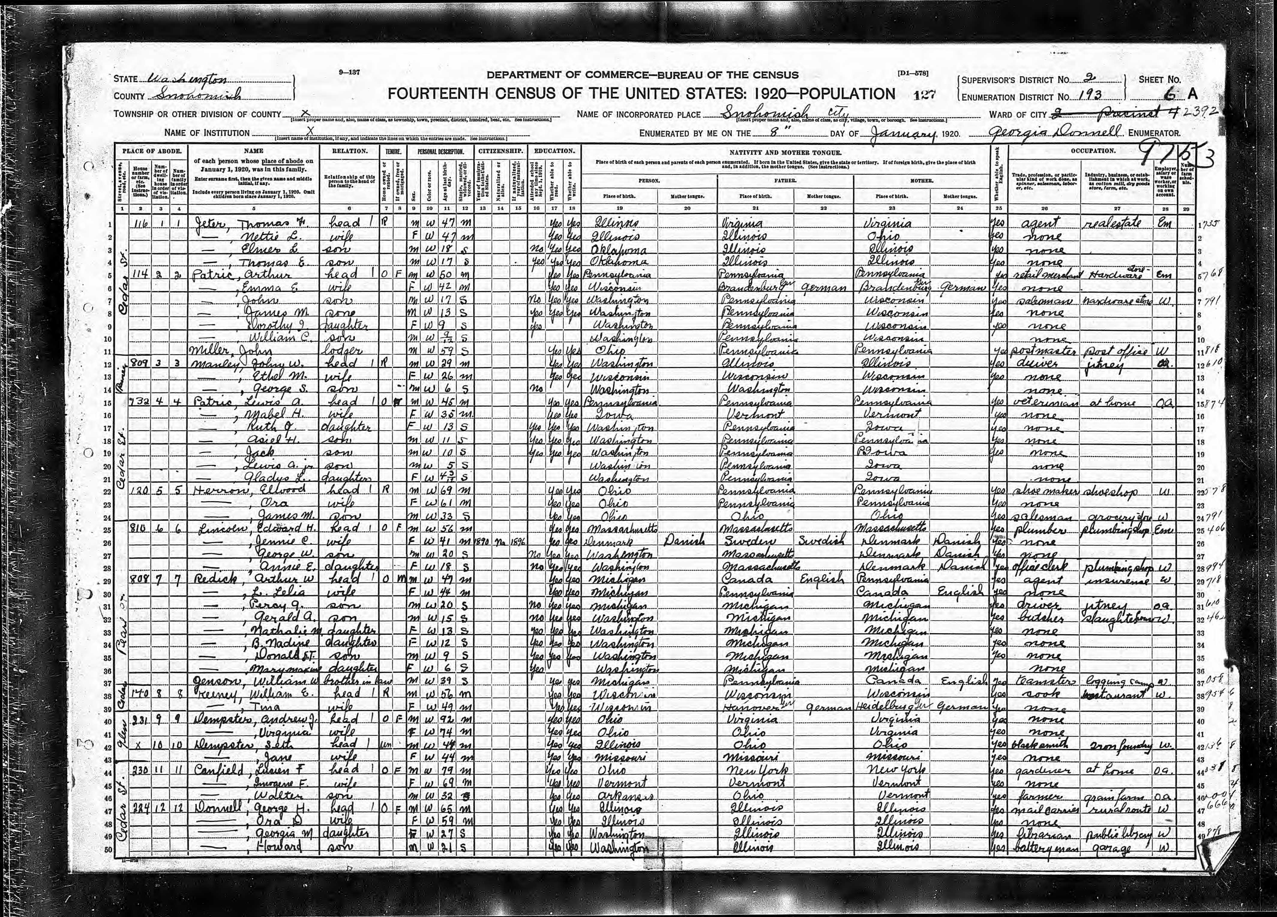 File:1920 US census form for 2nd ward of Snohomish Washington.jpg ...