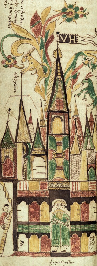 Image of Valhalla in the Icelandic manuscript XVII century. The gates are protected by Heimdall.