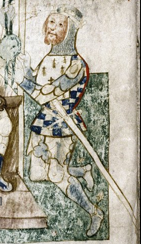 Alan Rufus, from a larger 14th century illumination, swearing fealty to William the Conqueror[a]