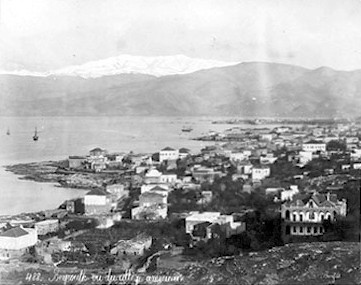 View of Beirut with snow-capped Mount Sannine in the background - 19th century Beyrouth-histoire1.jpg
