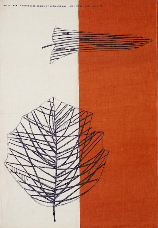 Lucienne Day: Black Leaf Tea Towel 1959