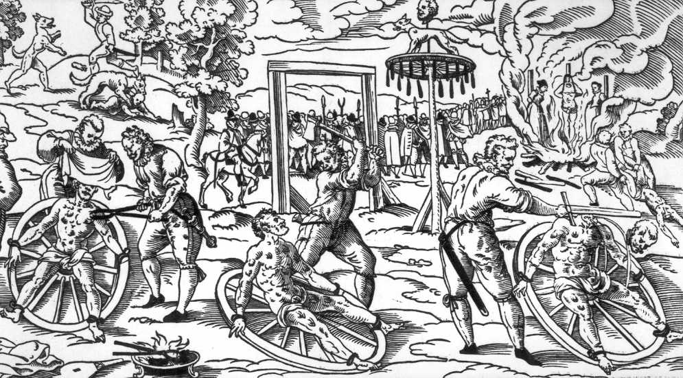 The execution of Peter Stumpp, involving the breaking wheel in use in Cologne in the early modern period