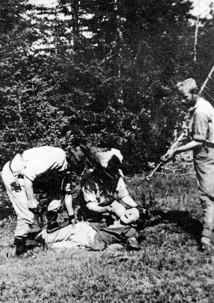 Three men killing a fourth