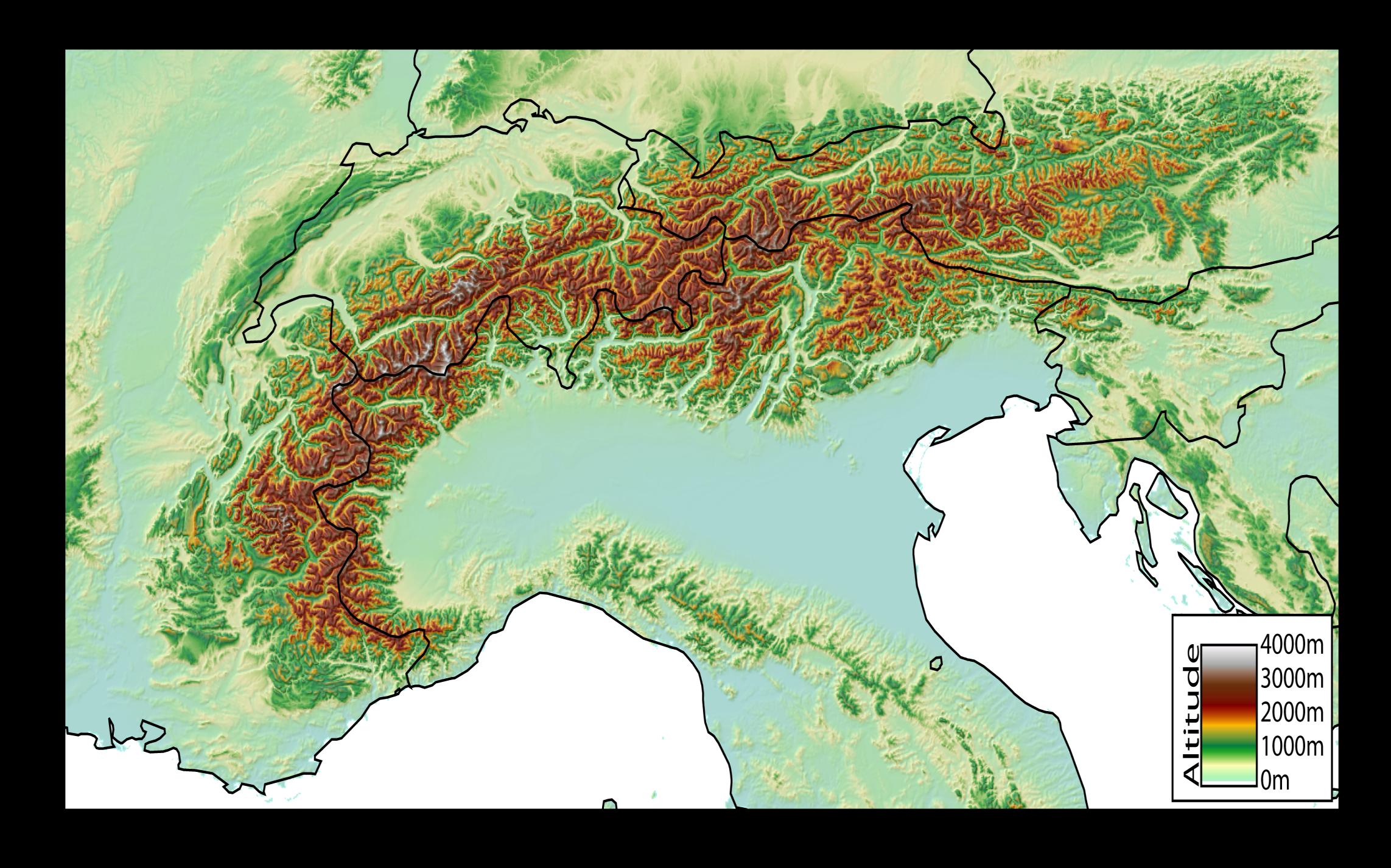 les alpes carte geographique