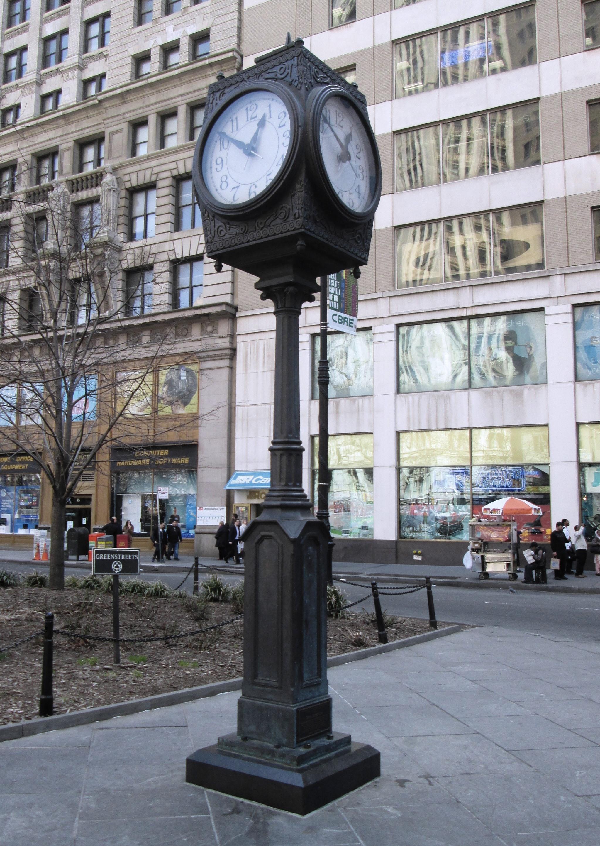 Description David Rockefeller street clock Broadway and Park Row.jpg