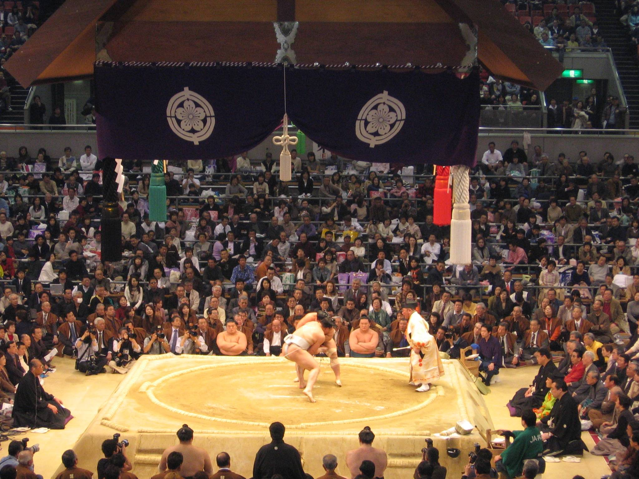 A sumo ring, or dohyo on Wikipedia