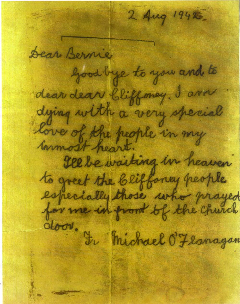 File:Fr  O'Flanagan's Last letter, 2nd August 1942 jpg