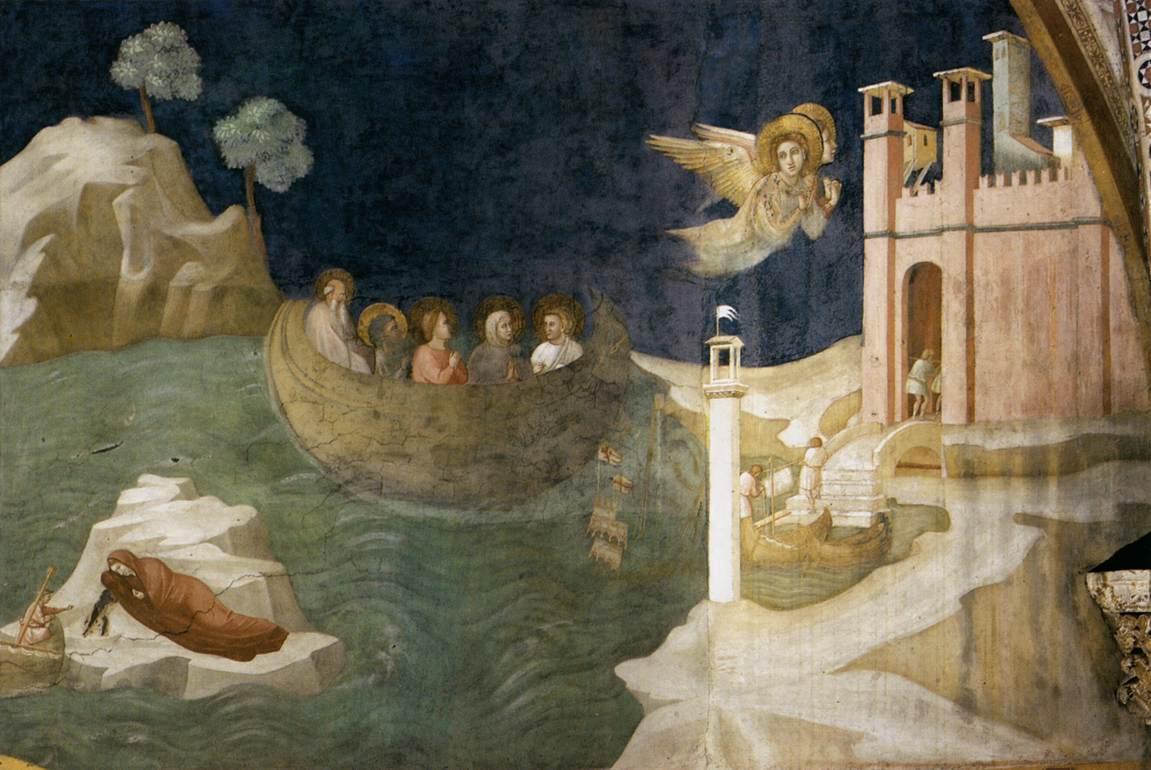 Giotto, La Maddalena approda a Marsiglia, affresco