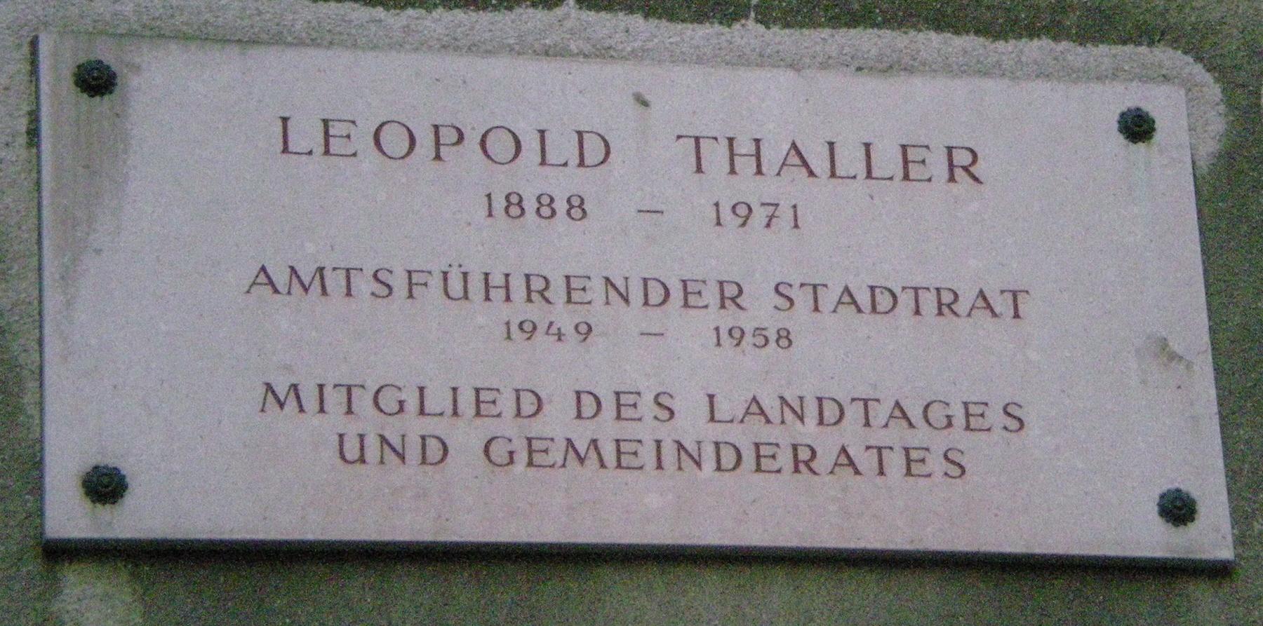 GuentherZ 2010-02-22 5456 Baumgasse Gedenktafel Leopold Thaller.jpg