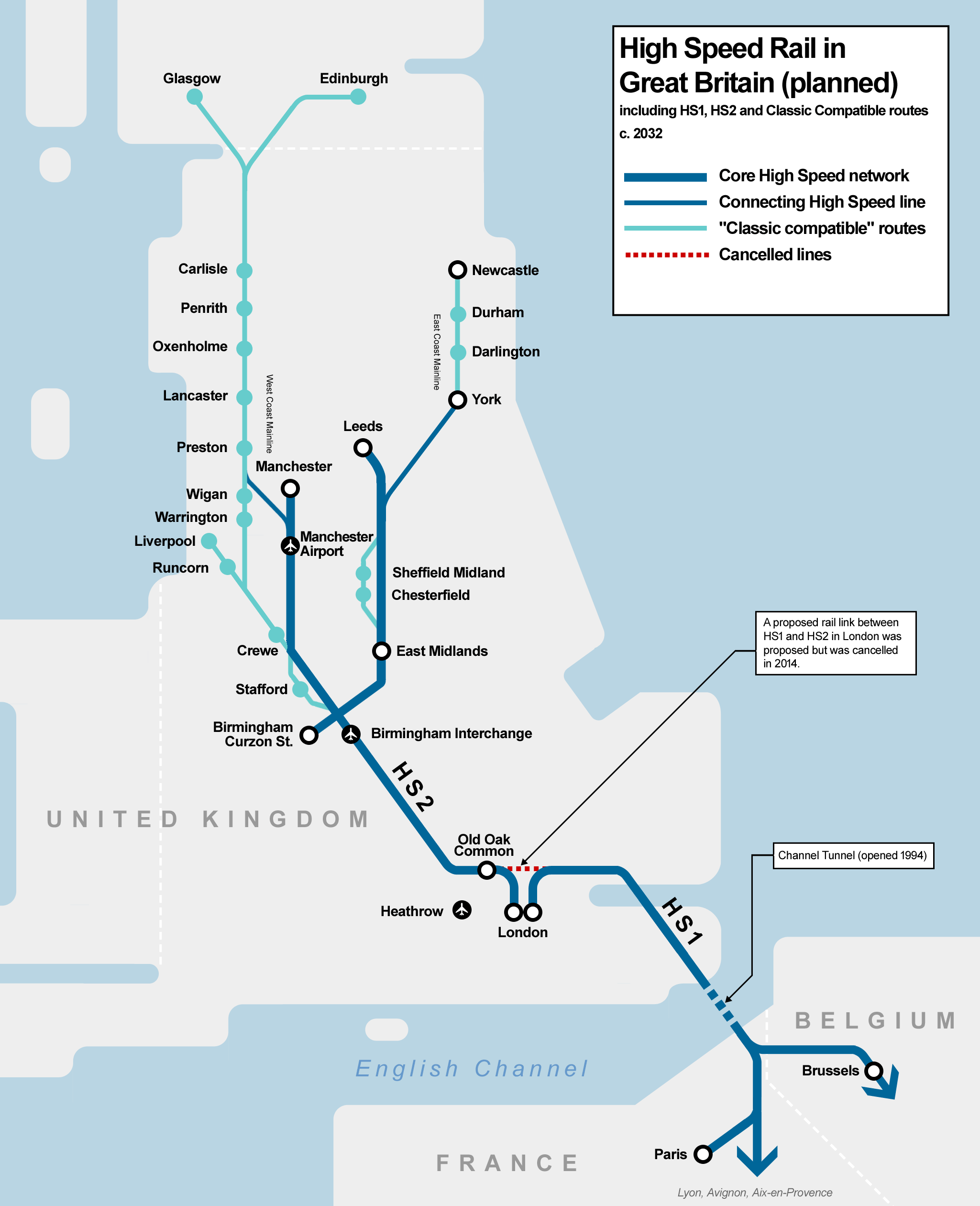 diagrammatic map showing the planned high speed rail network in great britain with proposed classic compatible rail routes extending to other parts of