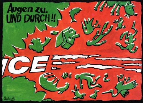 Postkarte der Bürgerinitiative Das bessere Bahnkonzept gegen die Neubaustrecke (1994)