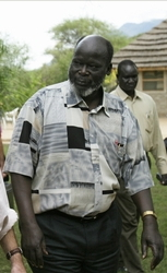 John Garang de Mabior led the Sudan People's Liberation Army until his death in 2005. John Garang.jpg