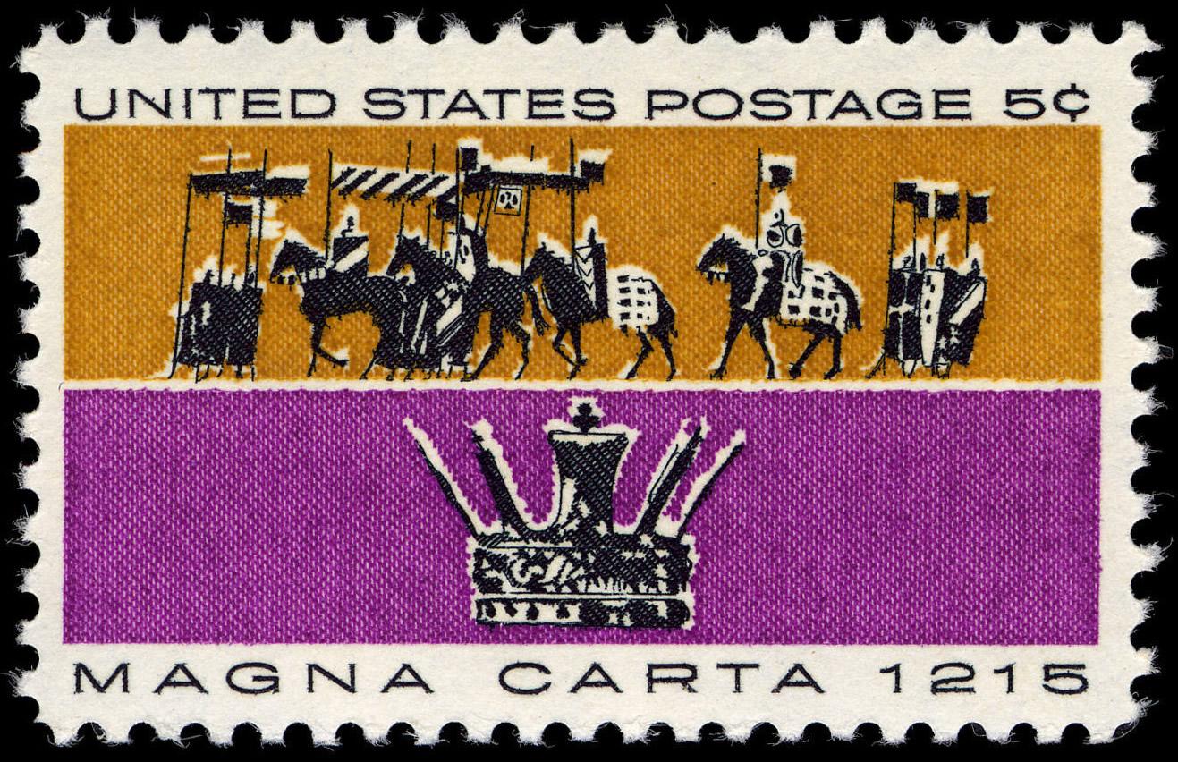 Sello de Estados Unidos, emitido en 1965 en conmemoración de la firma de la Carta Magna.