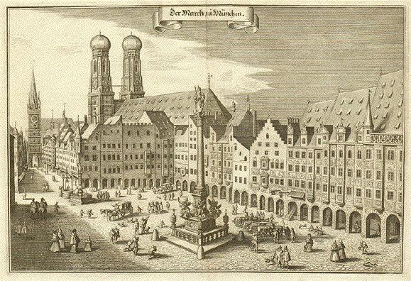 Marienplatz (Kupferstich von Matthäus Merian, etwa 1650)