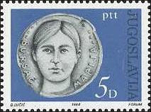 Blue postage stamp with Bursać's face on a medallion