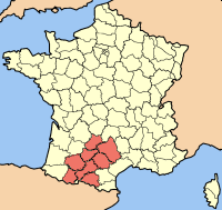 Location of Midi-Pyrénées (in red)