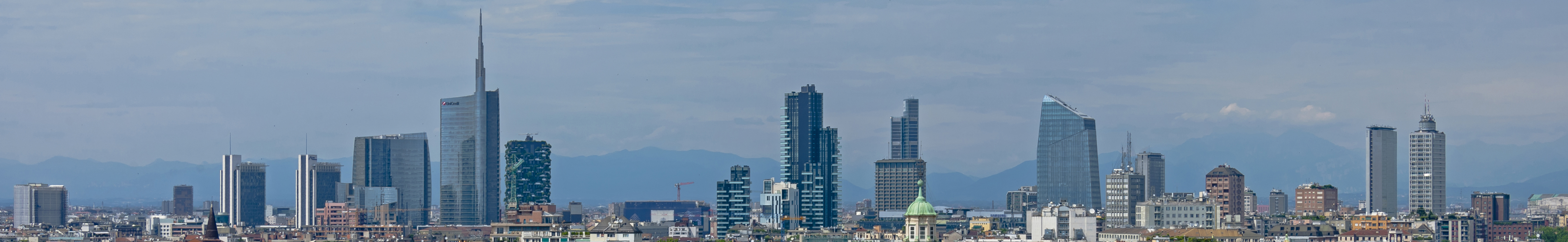 Skyline of Milan, capital of Lombardy, Italy.